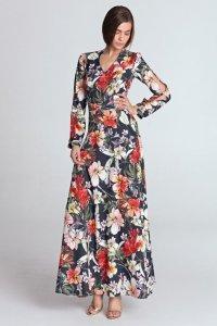 Sukienka maxi z wycięciami na rękawach - kwiaty/granat - S119