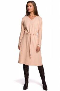 S244 Sukienka z dzianiny sweterkowej - beżowa