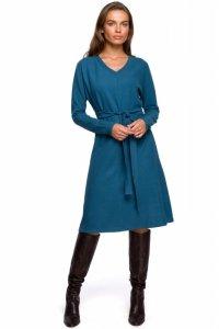 S244 Sukienka z dzianiny sweterkowej - morska