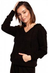 BK064 Sweter z kapturem i kieszenią kangurek - czarny