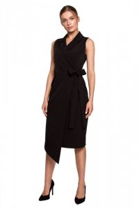 S275 Sukienka żakietowa z asymetrycznym dołem - czarna