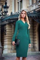 S136 Sukienka ołówkowa - zielona