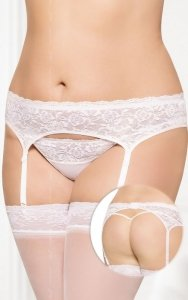 Garterbelt 3305 - Plus Size - white pas do pończoch i stringi