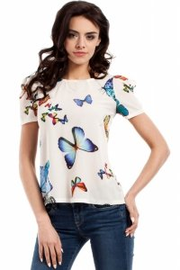 MOE220 Bluzka w motyle ecru
