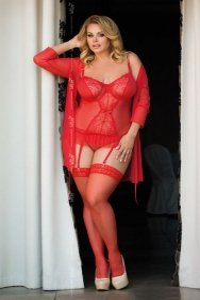 Dafne - Red 1852 gorset i stringi plus size