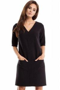 MOE250 Sukienka dwie kieszenie czarna