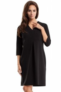 MOE251 Sukienka z podwójną plisą czarna