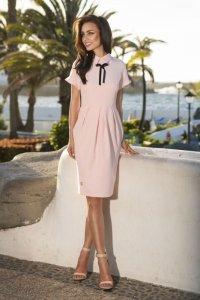 L234 Elegancka sukienka pudrowy róż