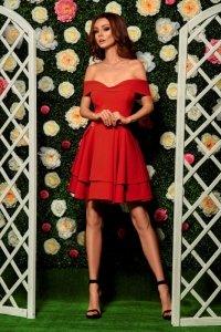 Zjawiskowa sukienka bardotka L258 czerwony