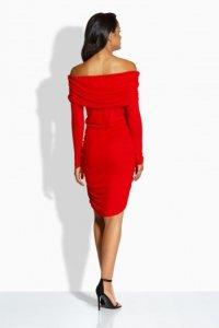 EM130 Seksowna sukienka z marszczeniami czerwony
