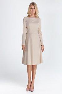 Elegancka sukienka midi - beż - CS02