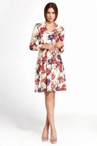 Sukienka z zakładkami - kwiaty - S109