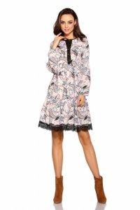 Trapezowa sukienka z nadrukami L288 pantofelki