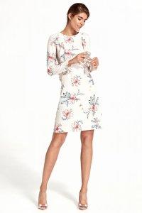 Sukienka z pionową falbaną - kwiaty/ecru - S110