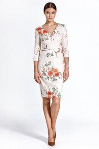 Sukienka cs28 - kwiaty/ecru - CS28