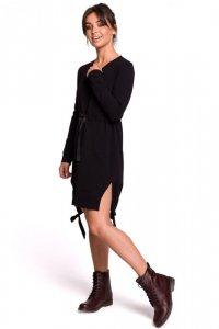 B133 Sukienka z rozcięciami na bokach - czarna