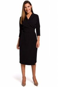 S175 Sukienka na zakładkę z paskiem - czarna