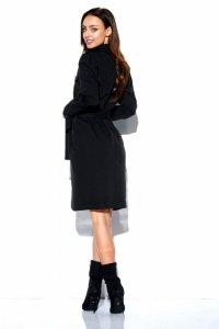 Kopertowa sukienka z kieszonkami i wiązaniem w pasie L323 czarny