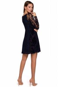 K023 Sukienka koronkowa rozkloszowana - granatowa