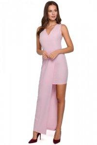 K026 Sukienka długa asymetryczna - liliowa