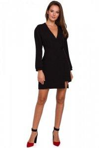 K034 Sukienka kopertowa na jeden guzik - czarna