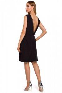 M490 Sukienka z głębokim dekoltem V na plecach - czarna
