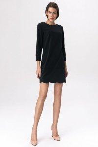Czarna sukienka z dekoltem na plecach - S144