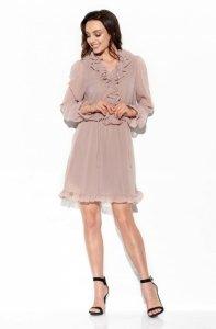 Szyfonowa sukienka z jedwabiem i żabotem kolor L327 capucino