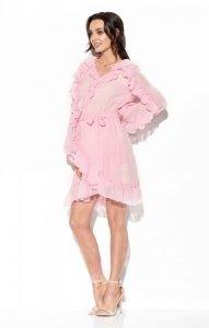 Szyfonowa sukienka z jedwabiem i falbankami kolor L326 pudrowy róż