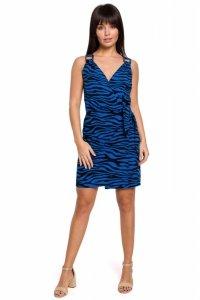 B156 Sukienka mini z nadrukiem z wiązaniem na boku - chabrowa