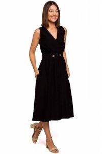 S224 Sukienka bez rękawów z rozkloszowanym dołem - czarna