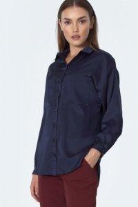 Granatowa koszula satynowa - K56