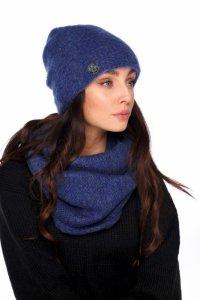 Basicowy komplet czapka z perełką i komin LC141 jeans