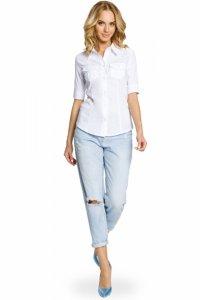 M027 Klasyczna taliowana koszula mankiety - biała