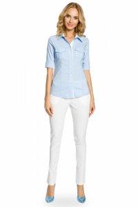 M027 Klasyczna taliowana koszula mankiety - błękitna