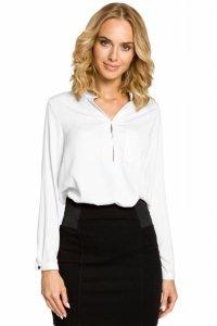 M063 Bluzka koszulowa ze stójka i kieszonką - biała