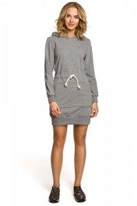M116 Dresowa sukienka kangurka z kapturem - szara