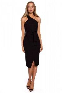 M572 Sukienka na jedno ramię - czarna