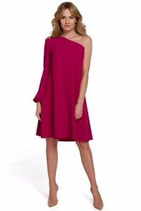 K081 Sukienka na jedno ramię - śliwkowa