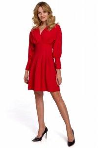 K087 Sukienka z rozkloszowanymi zakładkami - czerwona