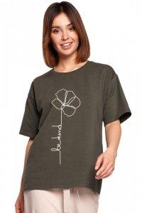 B187 T-shirt z nadrukiem - militarna zieleń