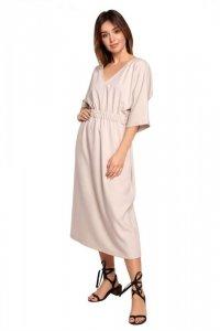 B192 Sukienka midi z gumą w pasie - beżowa