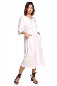 B192 Sukienka midi z gumą w pasie - biała