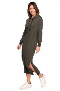 B197 Sukienka midi z kapturem - khaki