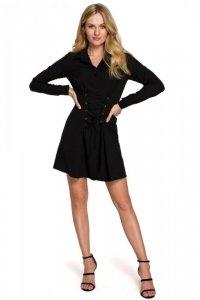 K094 Sukienka koszulowa z wiązaniem - czarna