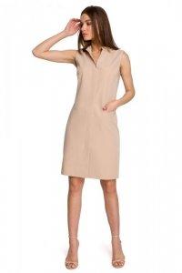 S258 Sukienka żakietowa bez rękawów - beżowa