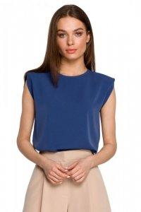 S260 Bluzka z poduszkami na ramionach - niebieska