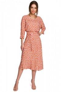 S265 Sukienka midi z kimonowymi rękawami - łososiowa