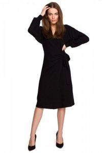 S267 Dzianinowa sukienka wiązana na boku - czarna