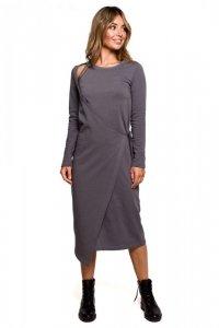 B206 Sukienka warstwowa z wiązaniem - antracytowa